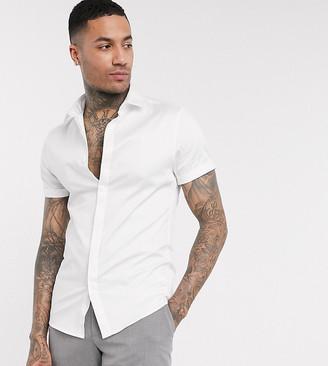 ASOS DESIGN Tall wedding skinny sateen shirt in white in short sleeve