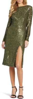 Mac Duggal Long Sleeve Sequin Sheath Dress