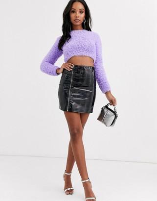 Asos Design DESIGN holographic vinyl A-line mini skirt with zip detail-Multi