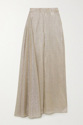 Talbot Runhof Kifty Draped Metallic Voile Wide-leg Pants - Gold