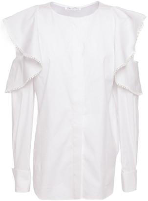 Oscar de la Renta Cold-shoulder Ruffle-trimmed Cotton-blend Poplin Blouse