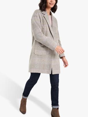 White Stuff Cocoon Check Coat, Neutral