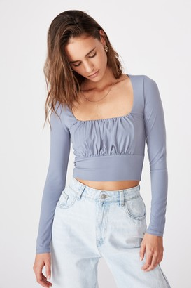Supre Hayley Gathered Front Long Sleeve Top