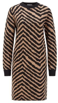 HUGO BOSS Jacquard Knit Dress With Collection Themed Chevron Pattern - Patterned
