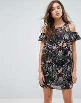 Love & Other Things Floral Frill Cold Shoulder Shift Dress