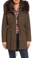 Catherine Malandrino Women's Parka With Removable Faux Fur Trim