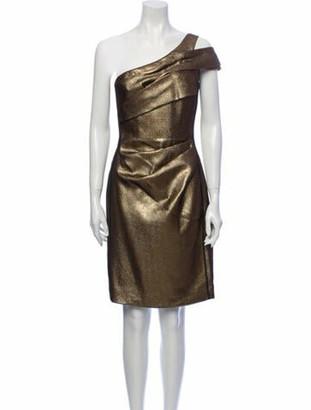 J. Mendel One-Shoulder Mini Dress Gold