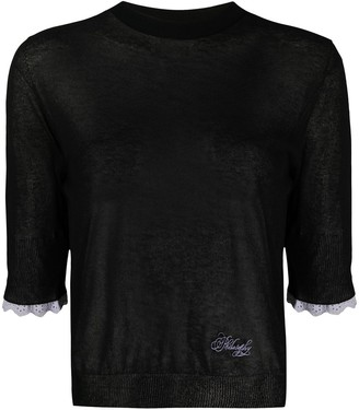 Philosophy di Lorenzo Serafini Sheer 3/4 Sleeves Pullover