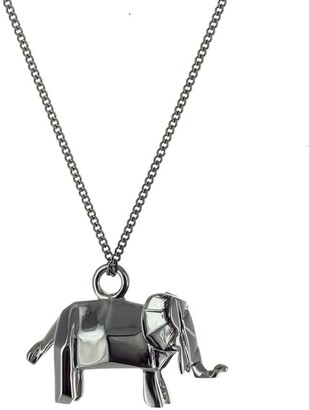 Origami Jewellery Mini Elephant Necklace Gun Metal