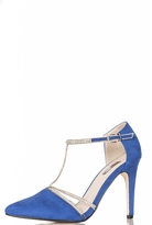 Quiz Blue Faux Suede Diamante T-Strap Courts