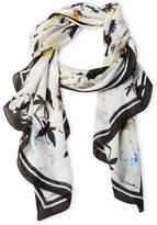 Roberto Cavalli Floral & Bird Printed Silk Scarf