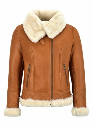 Carrie CH Hoxton Women Sheepskin Jacket White Shearling Asymmetric Real Fur Bomber Jacket NV-43 (14)