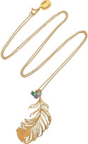 Alex Monroe 22-karat gold-plated peacock feather necklace