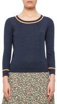 Akris Punto Bracelet-Sleeve Sweater w/Contrast Stripes, Denim