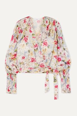 ART DEALER Rosie Smocked Floral-print Satin Wrap Top - Pink