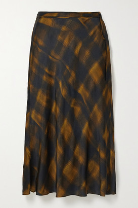 Proenza Schouler White Label Checked Hammered-satin Midi Skirt - Gold