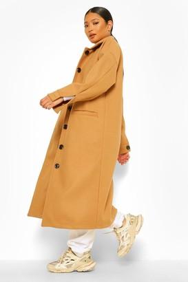 boohoo Petite Pocket Detail Maxi Wool Look Coat