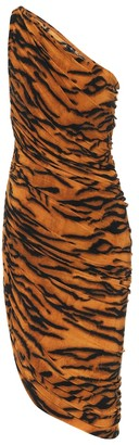 Norma Kamali Exclusive to Mytheresa Diana tiger-print one-shoulder minidress