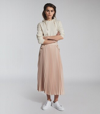 Reiss Lina - Pleated Mini Skirt in Nude