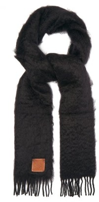Loewe Anagram-patch Mohair And Wool-blend Scarf - Black