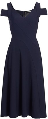Roland Mouret Ebor Cold-Shoulder Crepe Dress