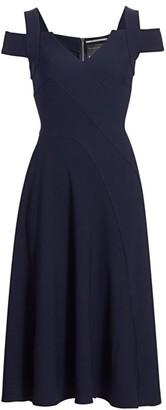 Roland Mouret Ebor Cold-Shoulder Crepe Dress