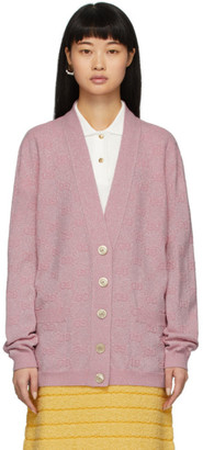 Gucci Pink Lurex Interlocking G Cardigan