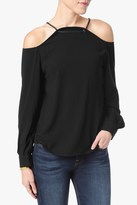 7 For All Mankind Cold Shoulder Blouse In Black