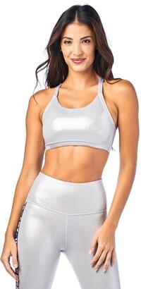 Zumba Fitness Zumba Women's Standard Athletic Dance Fitness High Impact Workout Metallic Sports Bra
