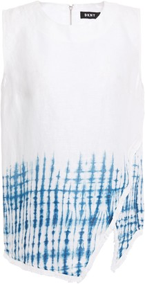 DKNY Asymmetric Fringe-trimmed Tie-dyed Linen Blouse