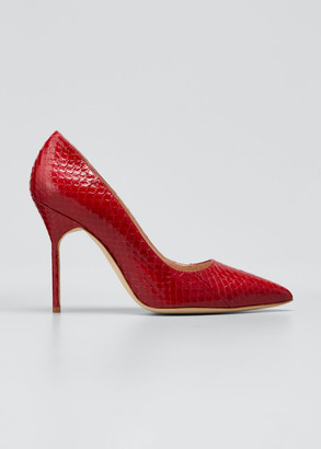 Manolo Blahnik BB 105mm Snakeskin Pointed Stiletto Pumps