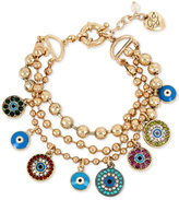 Betsey Johnson Gold-Tone Multi-Charm Triple Row Bracelet
