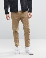 Pull&bear Slim Fit Distressed Chinos In Tan