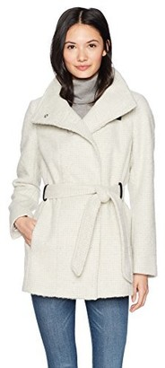 Cole Haan Women's Faux Striccato Wool Funnel Collar Belted Coat