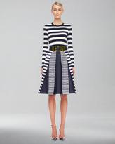 Michael Kors  Mix-Stripe Shantung Skirt