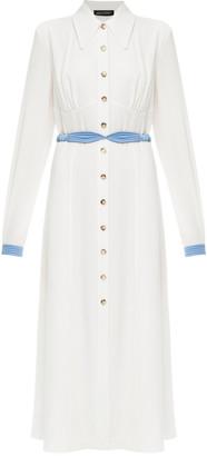 Anna October Alexandra Belted Crepe De Chine Shirt Dress