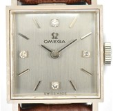 Omega 18K White Gold / Leather with Silver Dial Vintage 17mm Womens Watch