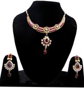 Shoppingover red stone studded necklace gold tone with earrings set