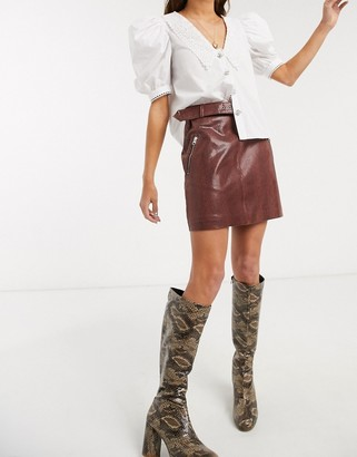 Object leather mini skirt in brown snake