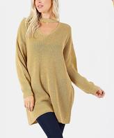 Jane Khaki Oversize Choker-Cutout Sweater
