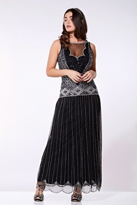 Gatsbylady London Elaina Drop Waist Flapper Maxi Dress in Black