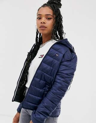 Tommy Jeans quilted zip through jacket-Navy