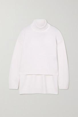 Tom Ford Asymmetric Cashmere Turtleneck Sweater - White