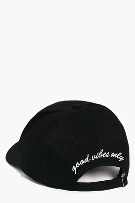 boohoo Good Vibes Only Slogan Baseball Cap
