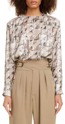 Isabel Marant Triangle Print Metallic Silk Blend Blouse