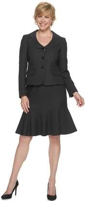 Le Suit Women's Jacquard Jacket & Flounce-Hem Skirt Suit