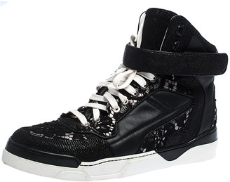 Givenchy Black Leather And Floral Lace Tyson High Top Sneakers Size 39