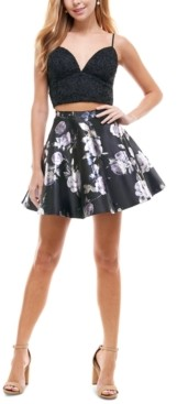City Studios Juniors' 2-Pc. Glitter & Floral-Print Fit & Flare Dress