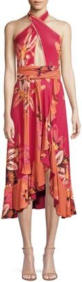 PatBO Jersey Floral Halter Wrap Dress