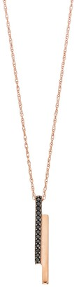 Black Diamond Simply Vera Vera Wang 10k Rose Gold 1/10 Carat T.W. Double Bar Pendant Necklace